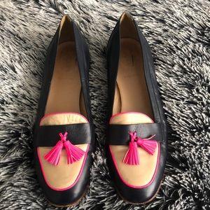 J Crew Biella Tassel leather loafers blue size 9.5